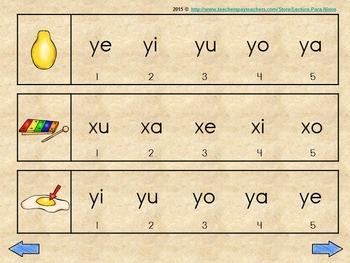 wa we wi wo wu, xa xe xi xo xu, ya ye yi yo yu  silabas iniciales y mediales