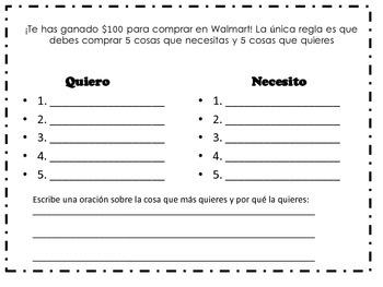 wants and needs spanish quiero y necesito kindergarten