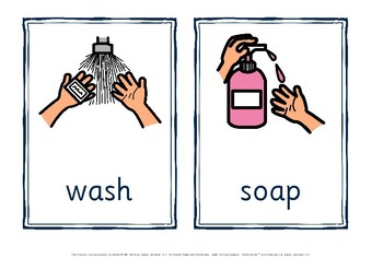 washing hands flashcards and sequence chart