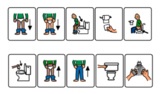 washing hands and toilet sequence visual