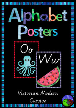 VIC MODERN CURSIVE watercolor ALPHABET POSTERS  ~ print, laminate and display!