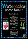 watercolor CLASS DECOR bundle - 12 items, numbers, day, months...