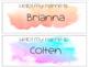 watercolor Name Tags (editable)