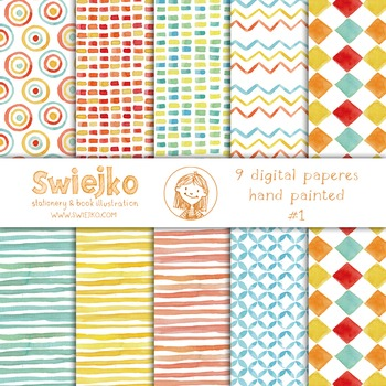 watercolor digital paper, circus, kids pattern, stripes, chevron, clown, #1