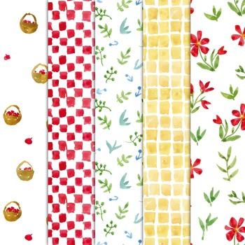 watercolor digital paper, seamless pattern, chessboard, picnic, #17