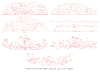 watercolor floral borders, pink set, hand painted flowers