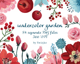 watercolor flowers, winter flowers, christmas clipart set #11
