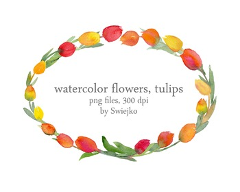watercolor flowers, tulips clipart set #13