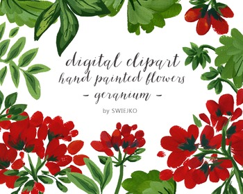 watercolor flowers, geranium clipart set #15