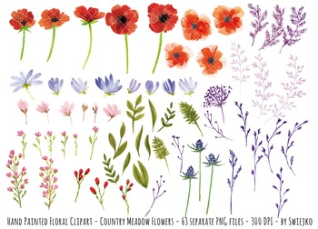 watercolor flowers, meadow clipart set #18