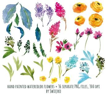 watercolor flowers, meadow clipart set, peonies #20