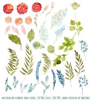 watercolor flowers, meadow clipart set #22