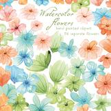 watercolor flowers clipart set #1