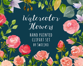 watercolor flowers, roses clipart set #23