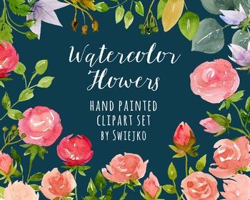watercolor flowers, roses clipart set #23