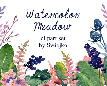 watercolor flowers clipart set #24