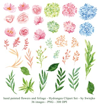 watercolor flowers clipart set, hydrangea #27