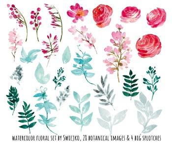 watercolor flowers clipart set, roses, peonies #28