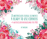 watercolor flowers clipart set, roses, peonies #28
