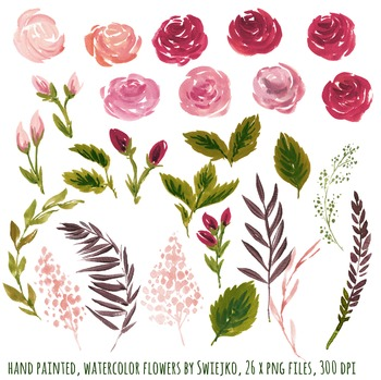 watercolor flowers clipart set, vintage roses #29