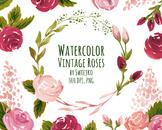 watercolor flowers clipart set, vintage roses #29