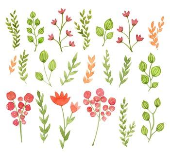 watercolor flowers clipart set #3