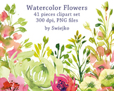 watercolor flowers clipart set, peonies, meadow, #30