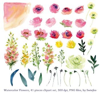 watercolor flowers clipart set, peonies, meadow, #30
