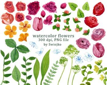 watercolor flowers clipart set #9