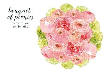 watercolor flowers clipart set, peonies, meadow, #37