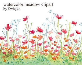 watercolor meadow clipart #6