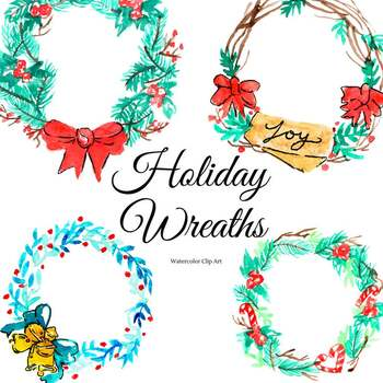 Christmas Wreath Clipart.Watercolor Holiday Christmas Wreath Clipart