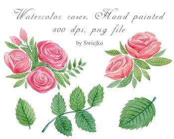 watercolor roses clipart set #7