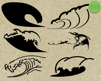 wave SVG cut files, DXF, vector EPS cutting file instant download for cricut
