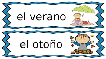 weather and seasons pared de palabras in Spanish