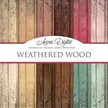 weathered Wood Background Textures Digital Paper scrapbook colorful wood grain