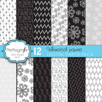 wedding floral digital paper, commercial use, scrapbook papers - PS624