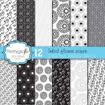 wedding floral digital paper, commercial use, scrapbook pa