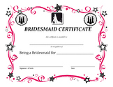 wedding party certificates