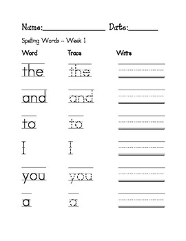 week 1 - Sight Word / Spelling Word - Sentence Worksheet