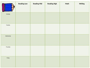 weekly lesson plan template for small groups
