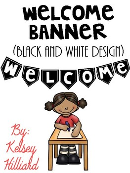 classroom decor welcome banner (black and white) Only $1.00 back to school