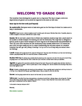 welcome to grade 1 parent letter