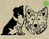 welsh sheepdog, border collie SVG cut files, DXF, vector EPS cutting file
