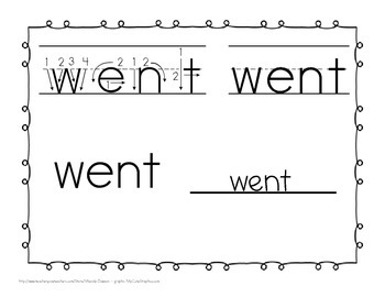 "Sight Word Book and Emergent Reader-""went"""