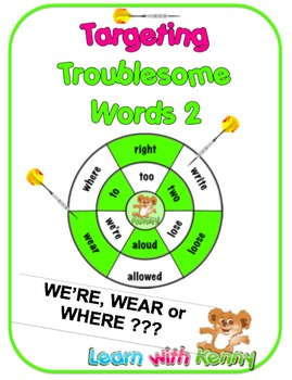 we're/wear/where - Targeting Troublesome Words Worksheets