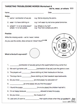 we're/wear/where - UK English Targeting Troublesome Words Worksheets