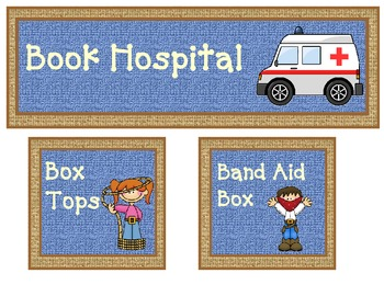 western theme box tops, book hospital and band aid box labels