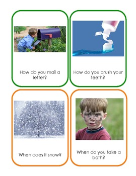 """""""wh"""" Comprehension Question Flashcards for Circle Time and Skill Work"""