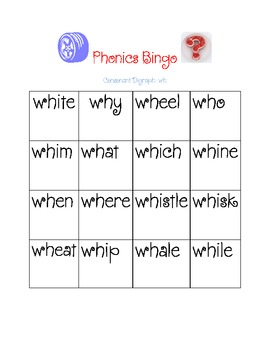 """wh"" Consonant Digraph Bingo"